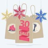 Etiquetas de la venta para una venta del deporte de la Navidad Fotografía de archivo libre de regalías