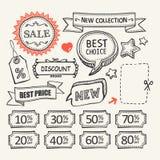 Etiquetas de la venta Sistema que hace compras Imágenes de archivo libres de regalías