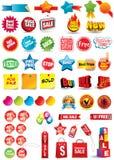 Etiquetas de la venta y del descuento Imagen de archivo