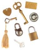 Etiquetas de las cerraduras de las llaves Fotos de archivo