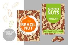 Etiquetas de las nueces de Brasil con los elementos del movimiento del cepillo y la textura exhausta de la nuez de la historieta stock de ilustración