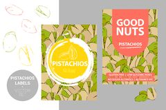 Etiquetas de las nueces de pistacho con los elementos del movimiento del cepillo, textura exhausta de la nuez de la historieta In libre illustration
