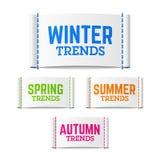 Etiquetas de las tendencias del invierno, de la primavera, del verano y del otoño Fotos de archivo libres de regalías