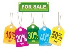 Etiquetas de las ventas de la cartulina Imágenes de archivo libres de regalías
