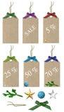 Etiquetas de las ventas de la Navidad Imagenes de archivo
