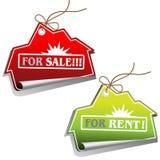 Etiquetas de las ventas de las propiedades inmobiliarias Fotos de archivo