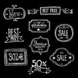 Etiquetas de las ventas del vintage - garabatos ilustración del vector