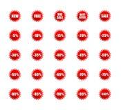 Etiquetas de las ventas fijadas Fotografía de archivo
