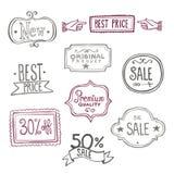 Etiquetas de las ventas - garabatos Fotografía de archivo libre de regalías