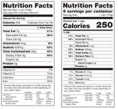 Etiquetas de los hechos de la nutrición Imagenes de archivo