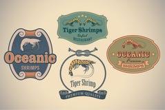 Etiquetas de los mariscos Fotos de archivo libres de regalías