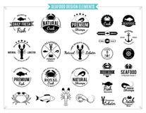 Etiquetas de los mariscos, animales de mar y elementos del diseño Foto de archivo