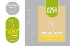 Etiquetas de los pistachos con los elementos verdes Nueces de pistacho exhaustas de la historieta Insignia del producto de la nue ilustración del vector
