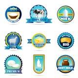 Etiquetas de los productos lácteos de la leche de la granja de Eco stock de ilustración