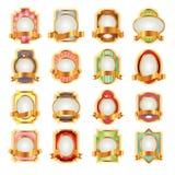 Etiquetas de lujo con las cintas de oro para su diseño Imágenes de archivo libres de regalías