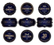 Etiquetas de lujo del sello y producto de calidad superior ilustración del vector