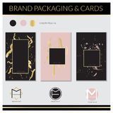 Etiquetas de lujo y diseño de tarjetas Diseño elegante: Rosa, oro y fondos negros Diseño del vector Foto de archivo libre de regalías