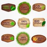 Etiquetas de madeira de Eco, bages, coleção das etiquetas com folhas do verde e grama - bio e produto natural, natural, glúten Foto de Stock Royalty Free