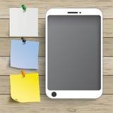 Etiquetas de madeira de Smartphone do fundo Foto de Stock