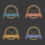 Etiquetas de oro con las cintas Fotografía de archivo