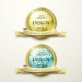 Etiquetas de oro de la calidad superior con los elementos del diamante stock de ilustración