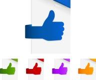 Etiquetas de papel acima dadas forma dos polegares Fotos de Stock Royalty Free