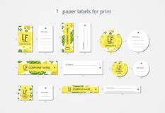 Etiquetas de papel da roupa do vetor para a cópia com melancia e flor do teste padrão Imagem de Stock Royalty Free