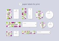 Etiquetas de papel da roupa do vetor para a cópia com passionfruit e flor do teste padrão Imagem de Stock Royalty Free