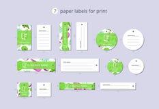 Etiquetas de papel da roupa do vetor para a cópia com pitaya e flor do teste padrão Imagem de Stock Royalty Free
