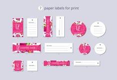 Etiquetas de papel da roupa do vetor para a cópia com romã e flor do teste padrão Fotografia de Stock Royalty Free