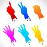 Etiquetas de papel das mãos pintadas. Ilustração Stock