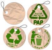 Etiquetas de papel de Grunge para reciclar Imagen de archivo libre de regalías