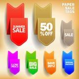 Etiquetas de papel de la venta del vector Fotos de archivo