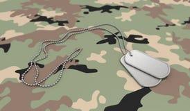 Etiquetas de perro del fondo del ejército Imágenes de archivo libres de regalías