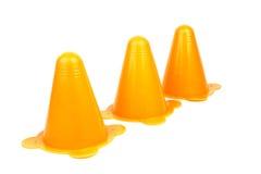 Etiquetas de plástico anaranjadas del tráfico Imágenes de archivo libres de regalías