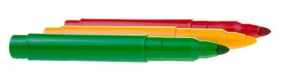 Etiquetas de plástico coloreadas brillantes en el fondo blanco Imágenes de archivo libres de regalías