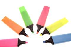 Etiquetas de plástico coloridas del highlighter Foto de archivo
