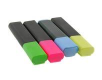 Etiquetas de plástico coloridas del texto aisladas en blanco Foto de archivo libre de regalías