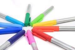 Etiquetas de plástico coloridas en colores del arco iris Imagen de archivo