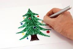 Etiquetas de plástico de drenaje de un árbol de navidad Fotografía de archivo