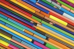 Etiquetas de plástico y lápices Fotografía de archivo libre de regalías
