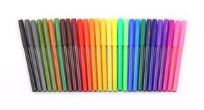 Etiquetas de plástico coloridas en una fila Fotos de archivo libres de regalías