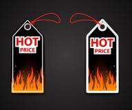 Etiquetas de precio calientes con la llama del fuego stock de ilustración