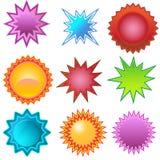 Etiquetas de Starburst: Interruptores automáticos Fotografia de Stock