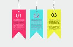 Etiquetas de suspensão de Infographic Imagens de Stock