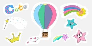 Etiquetas de uma mágica das crianças do grupo Um grupo de etiquetas para imprimir ilustração stock