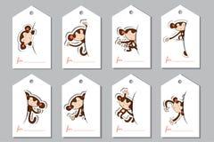 Etiquetas de un sistema con los monos Foto de archivo