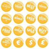 Etiquetas de varejo douradas do Web Fotografia de Stock Royalty Free