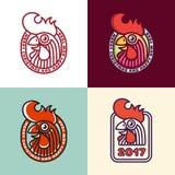 Etiquetas del año del gallo Imagen de archivo