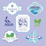 Etiquetas del agua Imagenes de archivo